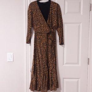 NEW Zara leopard print faux wrap maxi dress size M